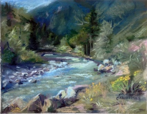 Pastel Painting of a river in Colorado